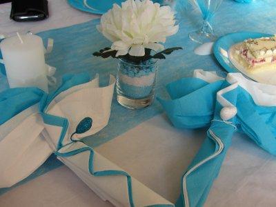 Décoration de table blanc et bleu turquoise... - Décoration de ...