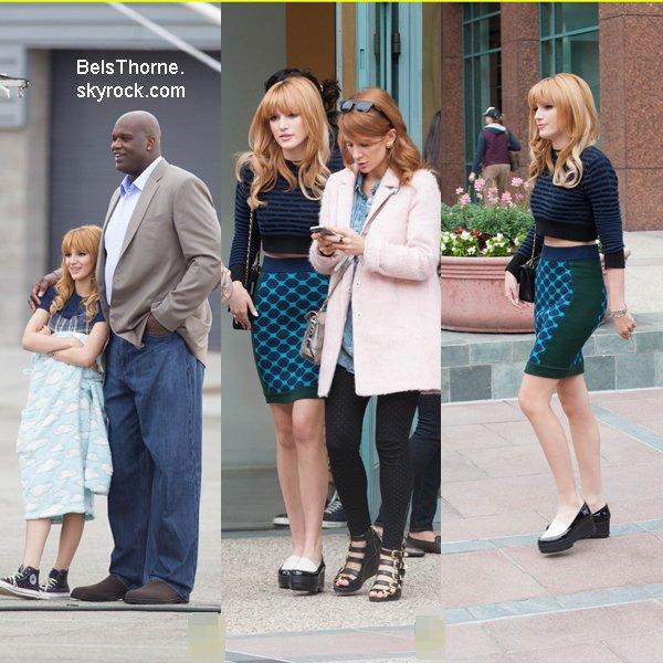 Bella quittant les studios de E! news  et ensuite en tournage avec Shaquille O'Neal.le 12 novembre 2013