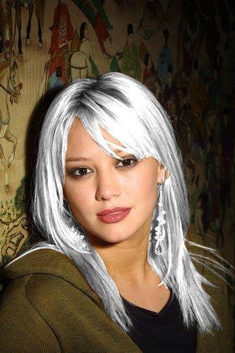 Blond platine sur cheveux blancs