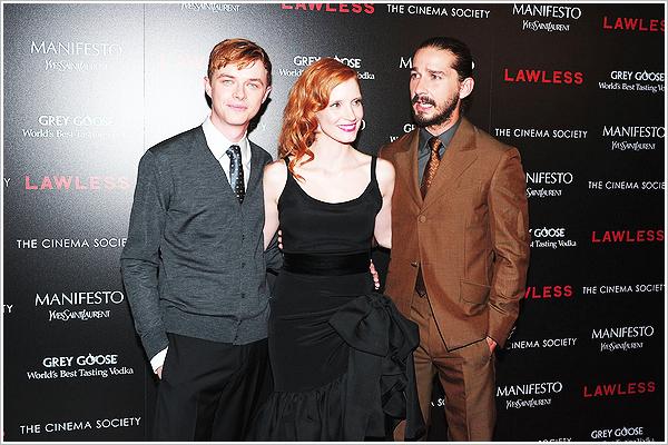 13.08.2012 : Shia et le cast de Lawless étaient au  The Cinema Society Pour Lawless. top ou flop?  Je le trouve magnifique le petit shia, meme si une belle coupe serait pas de refus.