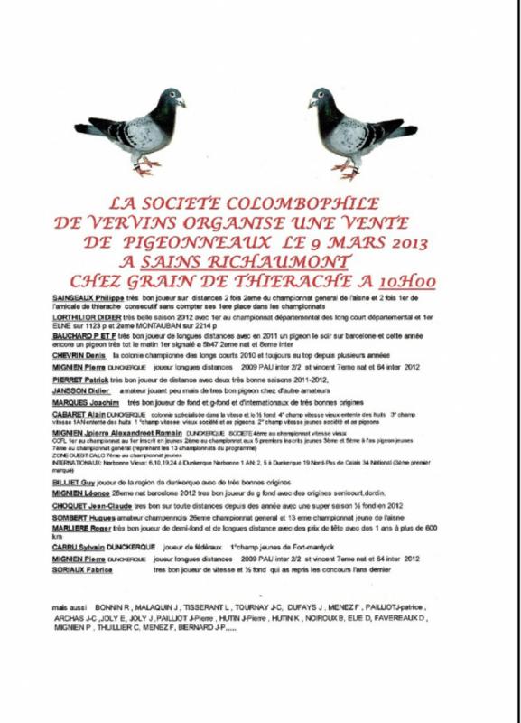 Vente de pigeonneaux 2013 société de Vervins 02