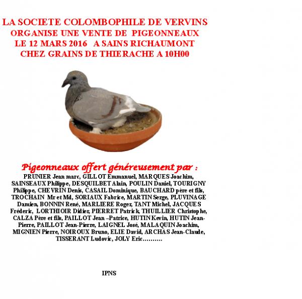 VENTE DE PIGEONNEAUX 2016 SOCIETE DE VERVINS 02