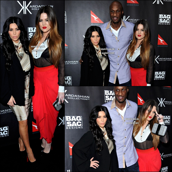 APPARITION.  Mercredi 2 novembre :  Khloe Kardashian , Kim & son marie Lamar au lancement de la Kardashian Kollection.