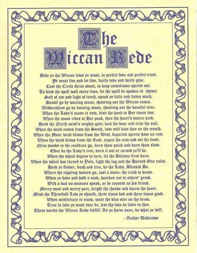 le rede les regle wicca ou principe