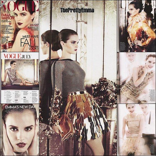 .Emma fait la couverture de VOGUE US du mois de juin ! Emma porte du Prada et le photoshoot est de Mario Testino.  .