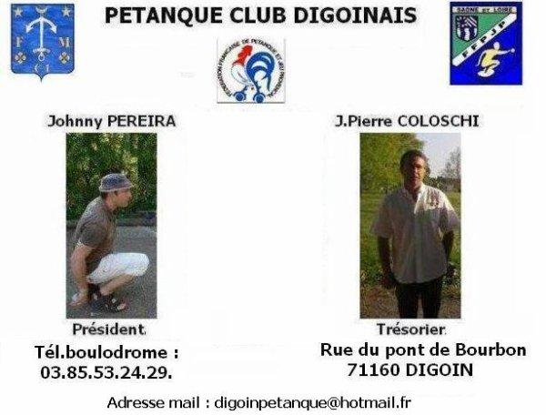 """BIENVENUE AU """"PETANQUE CLUB DIGOINAIS"""" :"""