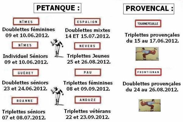 "CALENDRIER DES ""FRANCE"" 2012 :"