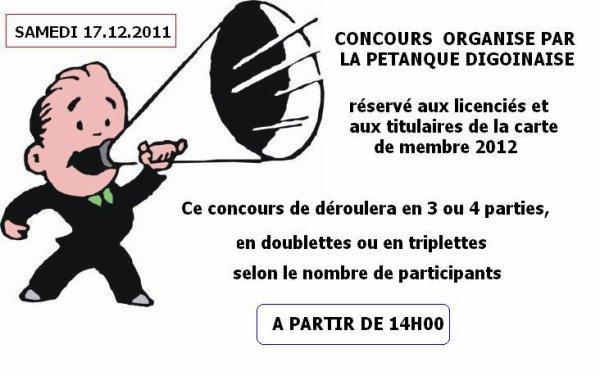 CONCOURS SOCIETAIRES ET MEMBRES DU 17.12.2011.