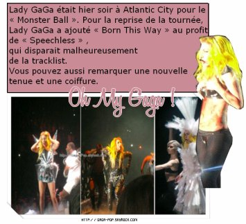 "BTW CLIP → JEUDI 24 FEVRIER !!   +   Photos du monster ball tour a atlantic city +  ""Edge Of Glory"""