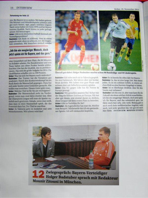 Holger pour Kicker ( 19.11.2012 )