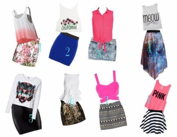 Qu'elle est votre tenue avec une jupe (j'en ais choisi des pas facile à porter ou à assortir) que vous préférez?