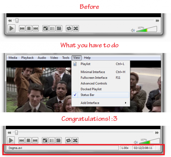 How to display video time and speed in VLC 2.0.1 — 2012/05/17