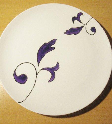 Assiette fleurs en Porcelaine