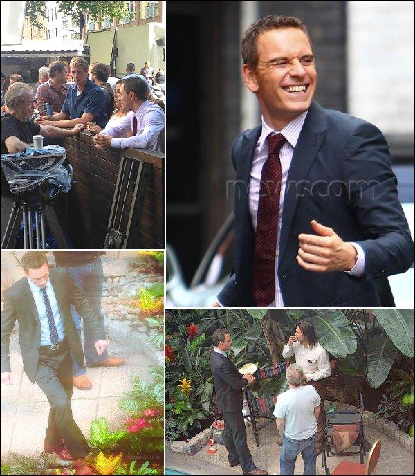 """2 Aout : Michael était toujours sur le tournage de """" The counselor"""" au côté de Brad Pitt. (Londres)"""