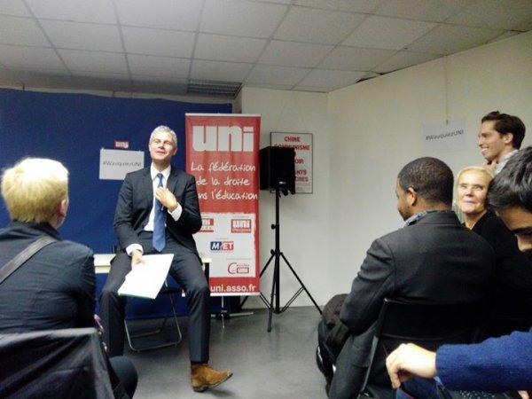 La conférence de Laurent Wauquiez  au siege de l'uni