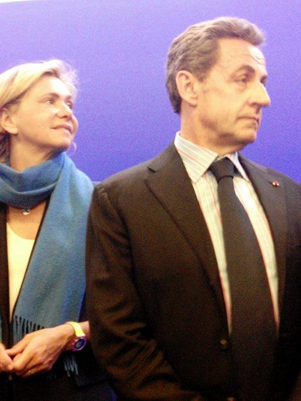 Nicolas Sarkozy, ancien le président de la république,le président UMP  avec Valérie Pécresse, ancienne ministre, député des Yvelines  et  présidente du groupe UMP au conseil régional d'Ile-de-France