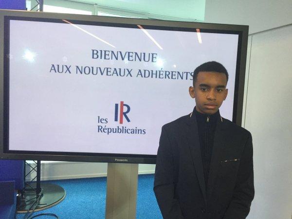 Nicolas Sarkozy  Président des Républicains. William Ombagho, J'ai 17 ans et je suis jeune pour l'engagement alternance nouveau adhérents 2016
