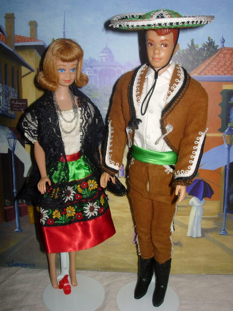 "VINTAGE BARBIE/MIDGE & KEN/ALLAN ""IN MEXICO"" (1964)"