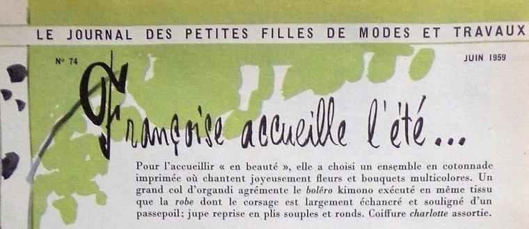 """MODES ET TRAVAUX : FRANCOISE EN ROBE """"JUIN 1959"""" ..."""