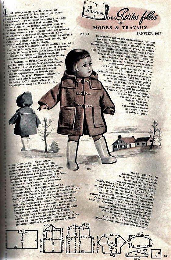 """FRANCOISE MODES & TRAVAUX : LE """"DUFFLE COAT"""" de JANVIER 1955 ..."""