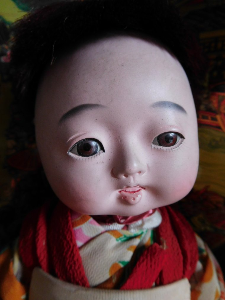 "ANCIENNE POUPEE JAPONAISE - ANCIEN BEBE ""ICHIMATSU"" EN GOFUN :"