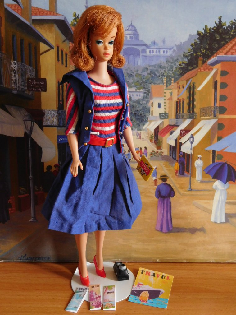 "BARBIE VINTAGE BUBBLE CUT - ANCIENNE AMERICAN GIRL - TENUE ""ABOARD SHIP"""
