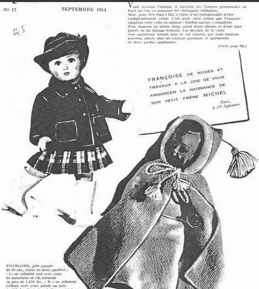 MODES & TRAVAUX : FRANÇOISE en SEPTEMBRE 1954 ...