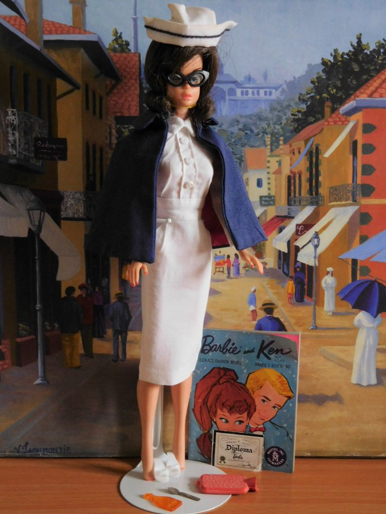 "BARBIE VINTAGE FASHION QUEEN - ANCIENNE TENUE ""REGISTERED NURSE"" 1961"