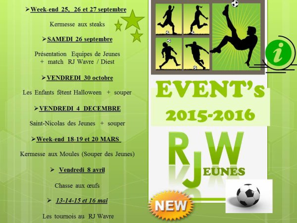 Les évènements de la saison 2015 - 2016