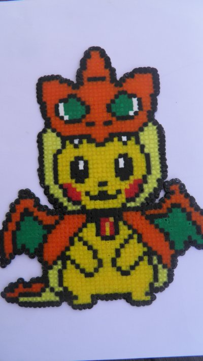 Pikachudracaufeu Mini Pixel Art Hama