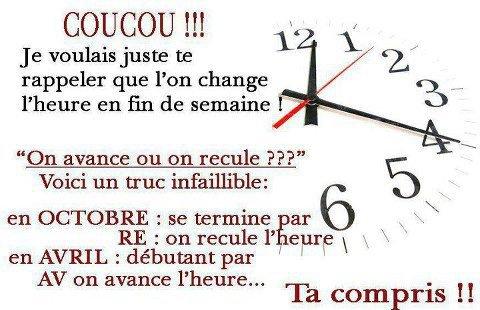 CHANGEMENT D HEURE !!!