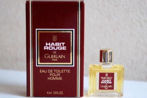 Habit Rouge de GUERLAIN (1988), boite 8,1 x 4,9 cm