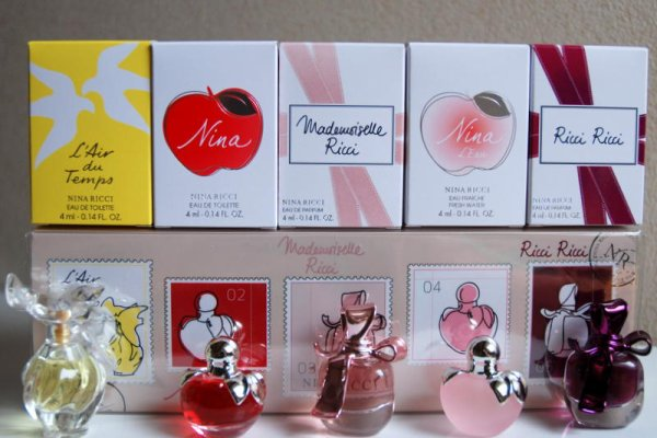 Coffret multi fragrances de RICCI avec boites individuelles