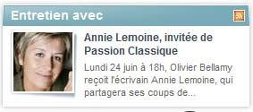 Annie invitée de RADIO CLASSIQUE à 18h