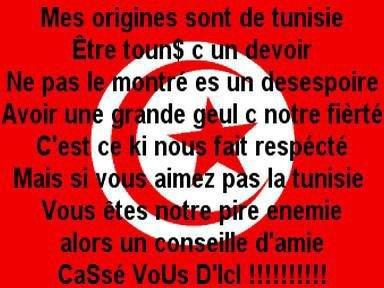 Drapeau Rouge Et Blanc, Tunisie Au Premier Rang, Fier De Mon Sang, Tounsi A 1000%