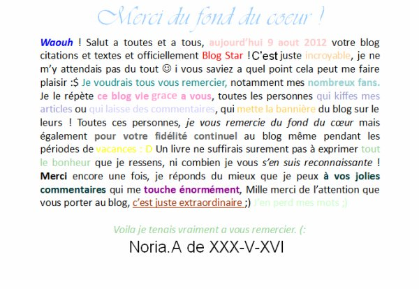 BLOG STAR ; Un grands merci !