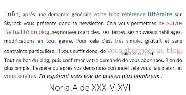XXX-V-XVI ;  votre référence citations / textes sur Skyrock vous présente sa newsletter.
