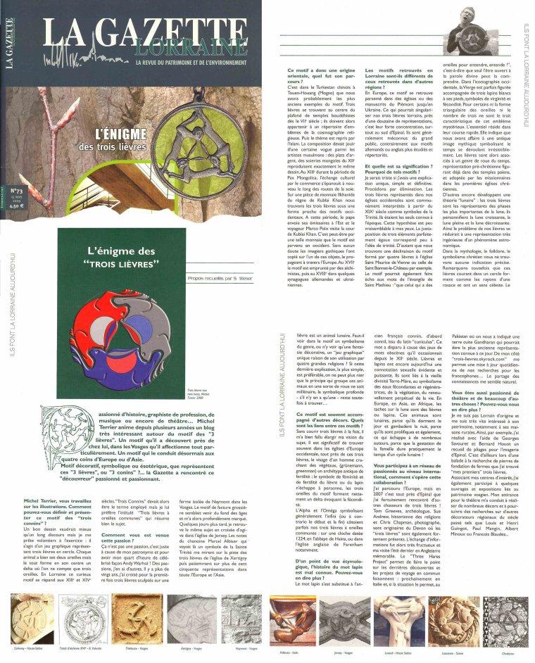 Trois lièvres La Gazette Lorraine n° 73  (mars 2009)