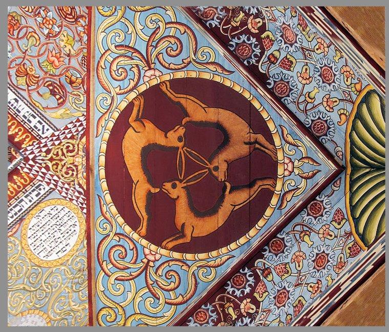 Trois lièvres Synagogue de Gwozdziec - Ukraine