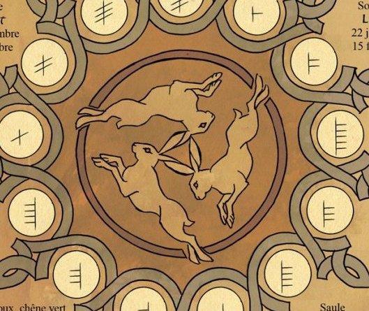 Trois lièvres Drei hasen Three haresOGHAMS - Krystal Camprubi