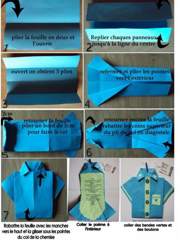 Pliage origami : chemise