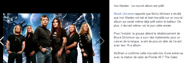 Iron Maiden : nouvelle album