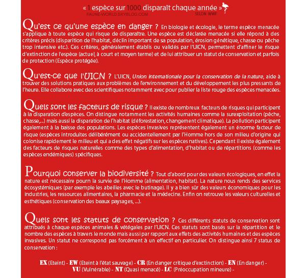 _______» ARTICLE N°102 :LES STATUTS DE CONSERVATION DE L'UICN_______ » Posté le 20 Décembre 2011 » Faune-world.skyblog.com