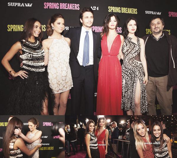 MOVIE PREMIERE / Le 14 mars 2013, Vanessa était présente à la première de Spring Breakers avec ses co-stars. La première s'est déroulée à Los Angeles. Ashley Tisdale était notamment présente. Que penses-tu de sa tenue ?