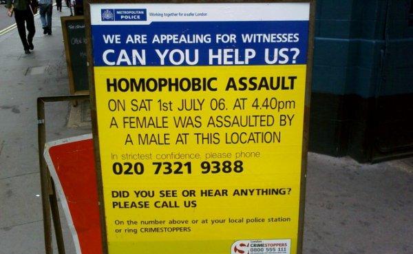 Royaume-Uni: Une hausse inquiétante des agressions homophobes Publié par Maëlle Le Corre Plus d'agressions… Ou plus de signalements?