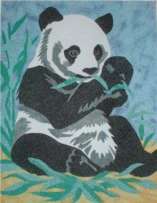 panda fait de sable color - Dessin Sable Color