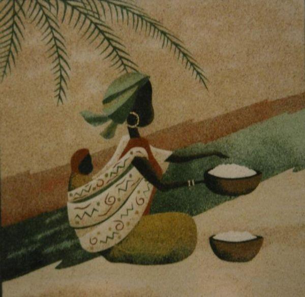 femme africaine avec son enfant dans le dos tableaux de sable. Black Bedroom Furniture Sets. Home Design Ideas