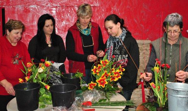 """Premier cours d'art floral chez """"GB Fleurs""""."""
