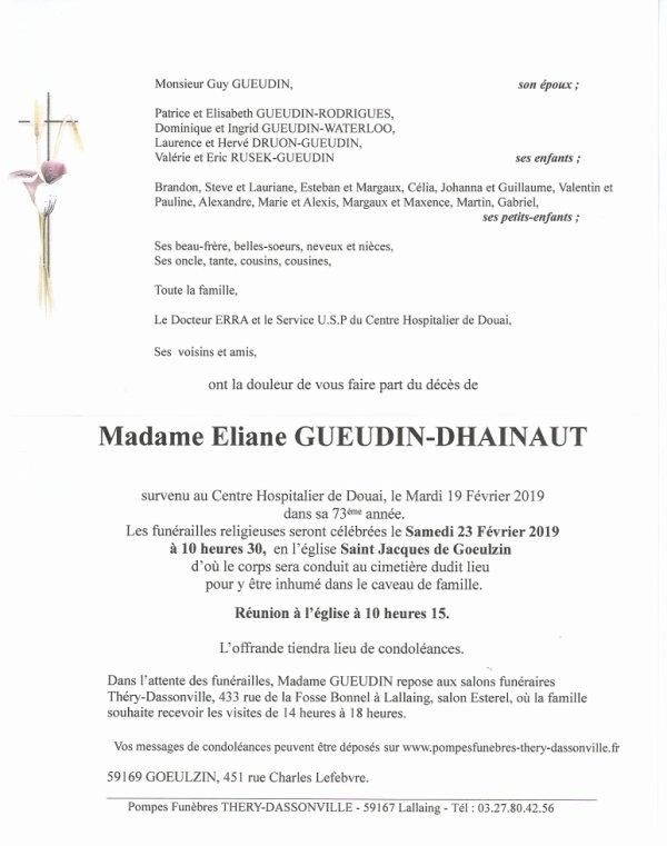 décès de Madame Gueudin