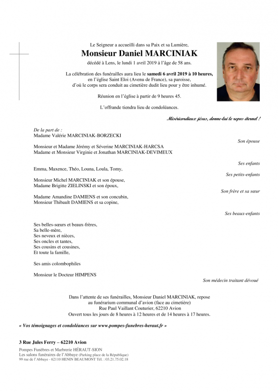 décès de Mr Marciniak Daniel  ancien membre du club